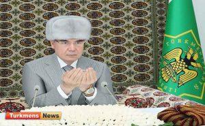 جمهور ترکمنستان 6 300x185 - Türkmenistanyň Prezidenti Gökdepe metjidinde «Akgoýun toý» sadakasyny berdi