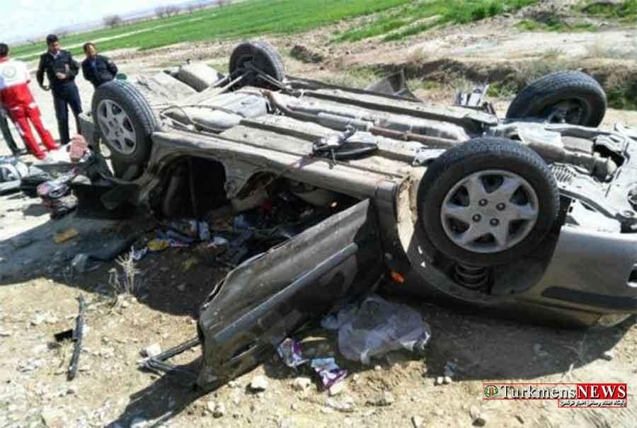 واژگونی خودرو در محور کلاله به مراوه تپه با 10 سرنشین