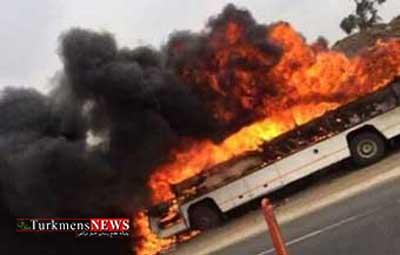 Atash 6T - اتوبوس واحد شهرداری گرگان در آتش سوخت
