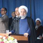 حجتالاسلام والمسلمین حسن روحانی رئیس جمهور در ورزشگاه تختی شهرستان گنبدکاووس