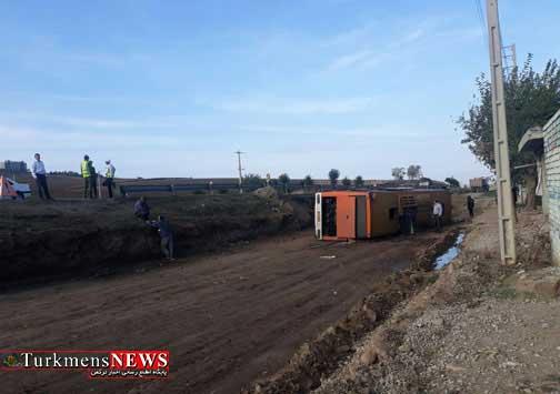 Tasadof 12A - علت وقوع حادثه واژگونی اتوبوس در گلستان مشخص شد