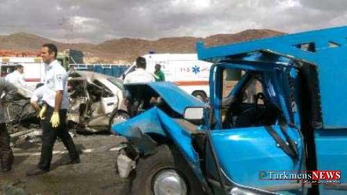 Tasadof 23 Sh - 13 مصدوم در تصادف دو خودرو جاده آزادشهر - شاهرود