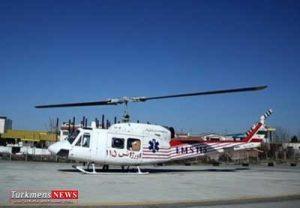 انتقال مصدوم منطقه مرزی گنبدکاووس به مرکز درمانی با امداد هوایی