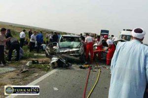 tasadof 7azar 300x200 - در تصادف محور آق قلا یک نفر کشته و یک نفر مجروح شدند