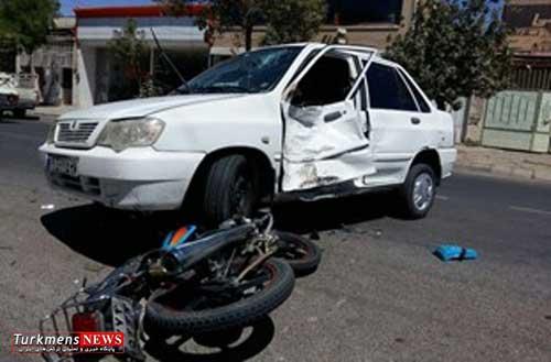 تصادف پراید با موتورسیکلت در گنبد یک کشته و شش مصدوم داشت