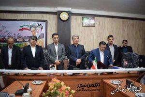 مراسم تکریم و معارفه بخشدار مرکزی شهرستان ترکمن برگزار شد